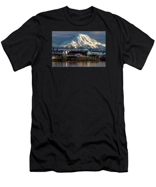 Men's T-Shirt (Slim Fit) featuring the photograph Thea Foss Waterway And Rainier 2 by Rob Green