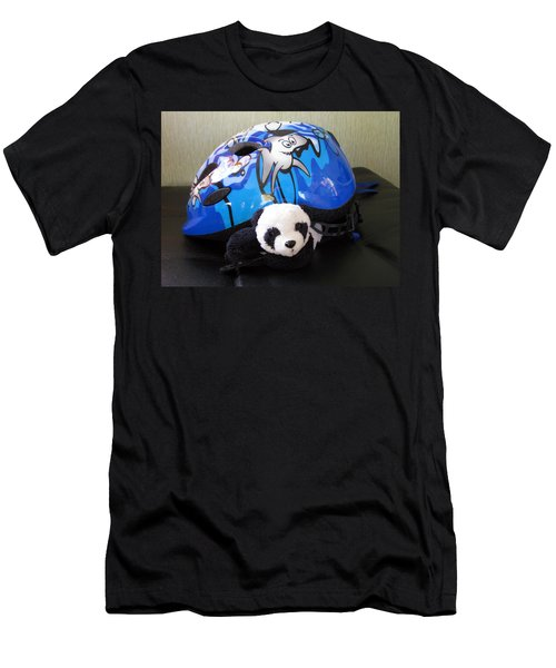 Men's T-Shirt (Slim Fit) featuring the photograph This Helmet Is So Heavy Ugh by Ausra Huntington nee Paulauskaite