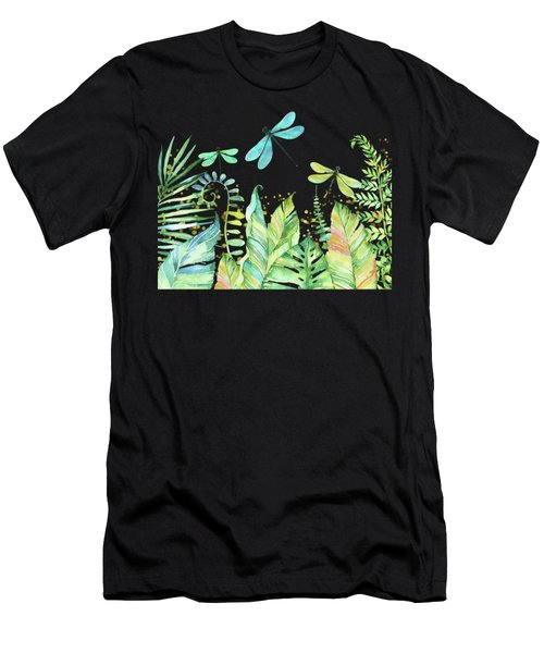 This Is My Happy Place Tropical Jungle Dragonfly Word Art Men's T-Shirt (Athletic Fit)