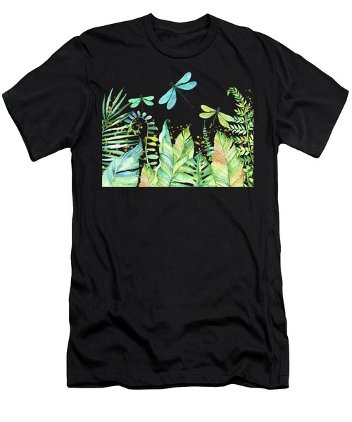 This Is Our Happy Place Tropical Jungle Dragonfly Word Art Men's T-Shirt (Athletic Fit)