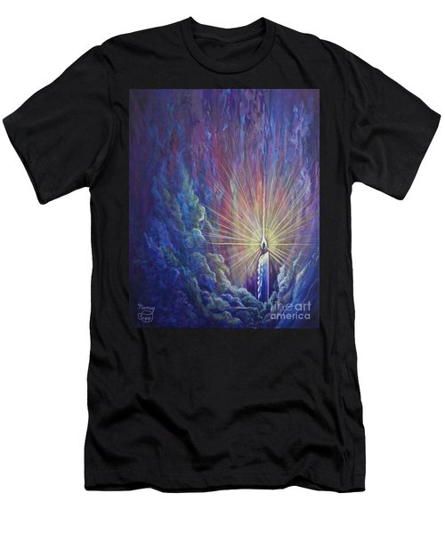 Men's T-Shirt (Athletic Fit) featuring the painting This Little Light Of Mine by Nancy Cupp