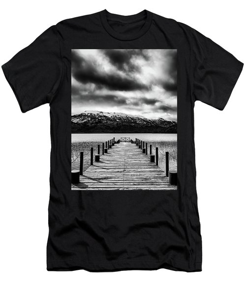 Landscape With Lake And Snowy Mountains In The Argentine Patagonia - Black And White Men's T-Shirt (Athletic Fit)