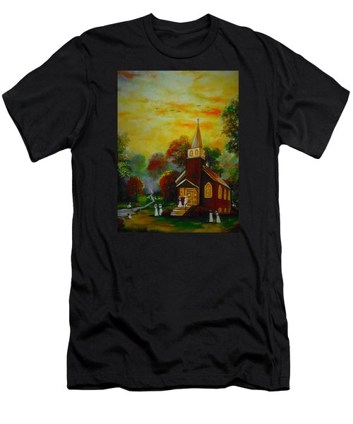Men's T-Shirt (Slim Fit) featuring the painting This Sunday by Emery Franklin