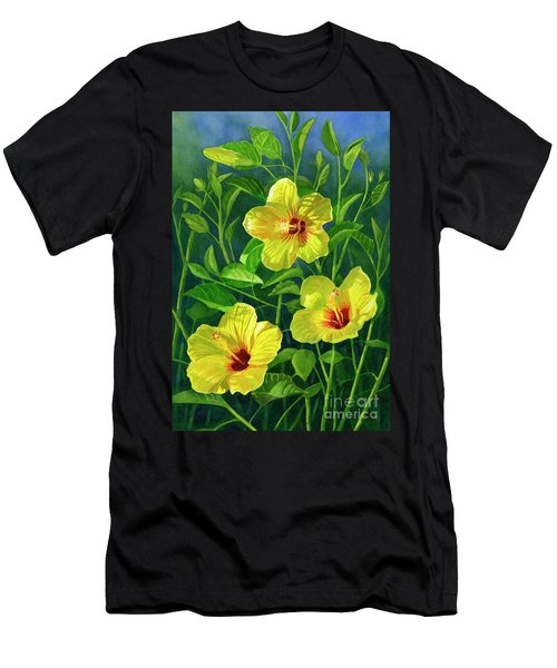 Three Bright Yellow Hibiscus Flowers Men's T-Shirt (Athletic Fit)