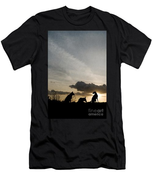 Three Dogs At Sunset Men's T-Shirt (Athletic Fit)