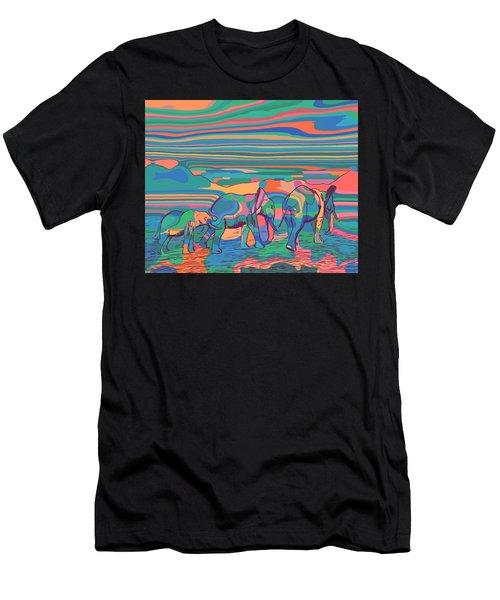 Three Elephants Walking  Men's T-Shirt (Athletic Fit)