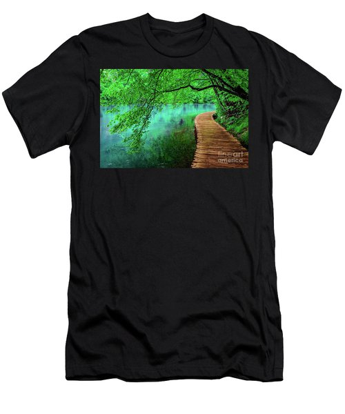 Tree Hanging Over Turquoise Lakes, Plitvice Lakes National Park, Croatia Men's T-Shirt (Athletic Fit)