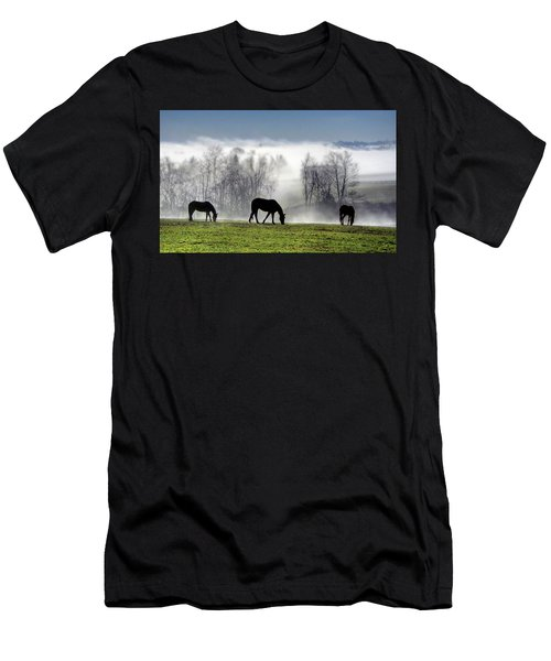 Three Horse Morning Men's T-Shirt (Athletic Fit)