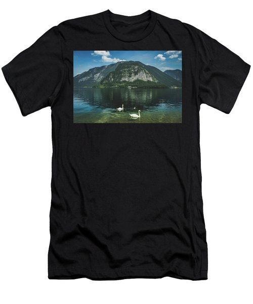 Three Lake Hallstatt Swans Men's T-Shirt (Athletic Fit)