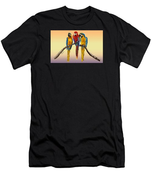 Three Macaws Hanging Out Men's T-Shirt (Athletic Fit)