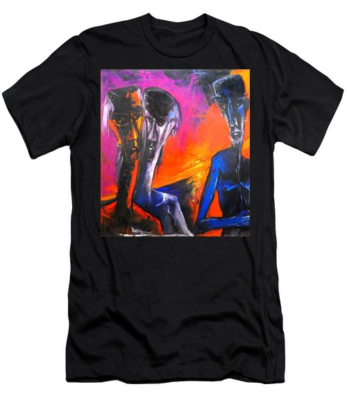 Three Men Before A Setting Sun Men's T-Shirt (Slim Fit) by Kenneth Agnello