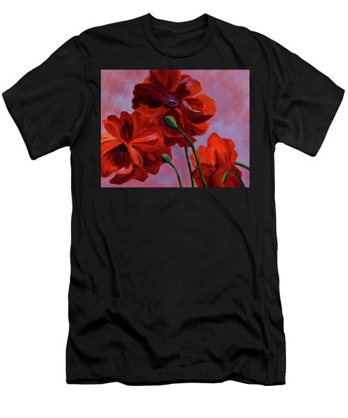 Three Oriental Poppies Men's T-Shirt (Athletic Fit)