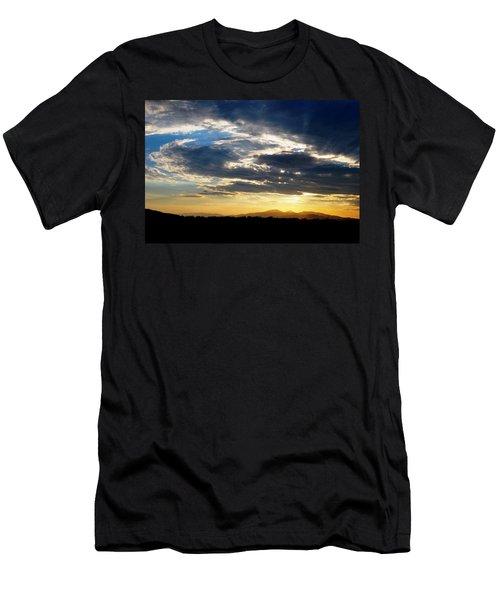 Three Peak Sunset Swirl Skyscape Men's T-Shirt (Slim Fit) by Matt Harang