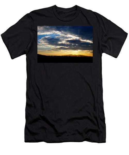 Three Peak Sunset Swirl Skyscape Men's T-Shirt (Athletic Fit)