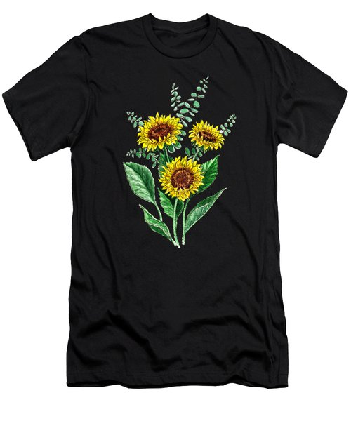 Three Playful Sunflowers Men's T-Shirt (Athletic Fit)