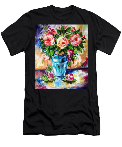 Three Roses In A Glass Vase Men's T-Shirt (Athletic Fit)