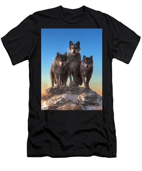 Three Wolves Watching You Men's T-Shirt (Athletic Fit)