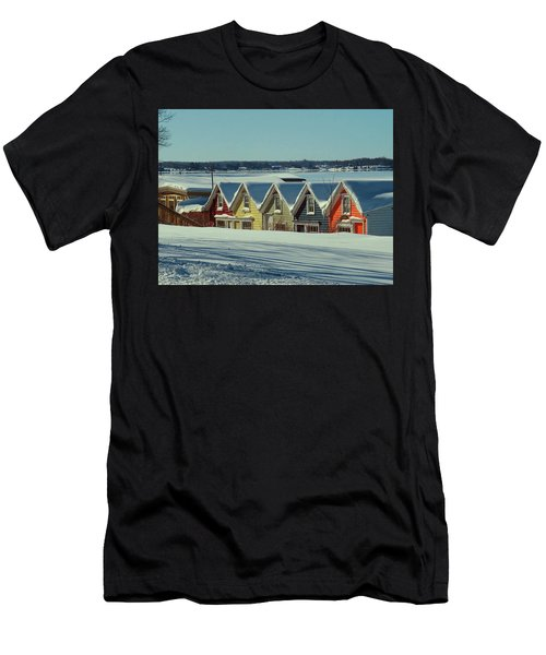 Winter View Ti Park Boathouses Men's T-Shirt (Athletic Fit)