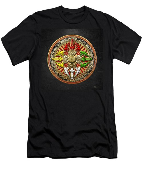 Tibetan Double Dorje Mandala Men's T-Shirt (Slim Fit) by Serge Averbukh