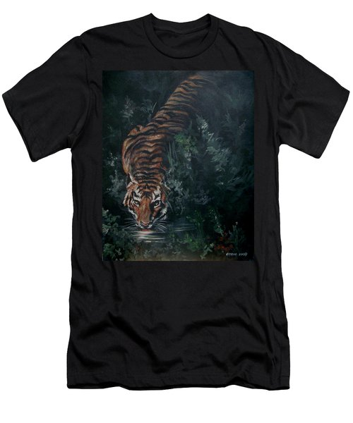 Men's T-Shirt (Slim Fit) featuring the painting Tiger by Bryan Bustard