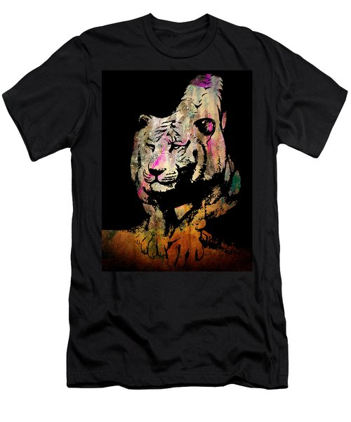 Men's T-Shirt (Slim Fit) featuring the drawing Tiger Collage #1 by Kim Gauge