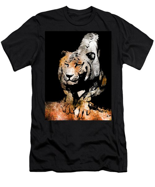 Men's T-Shirt (Slim Fit) featuring the drawing Tiger Collage #6 by Kim Gauge