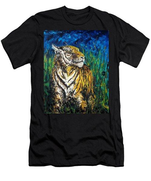 Tiger Night Hunt Men's T-Shirt (Slim Fit) by Shirley Heyn