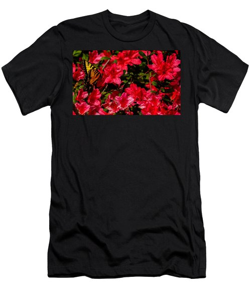 Men's T-Shirt (Slim Fit) featuring the photograph Tiger Swallowtail On A Red Azalea by John Harding