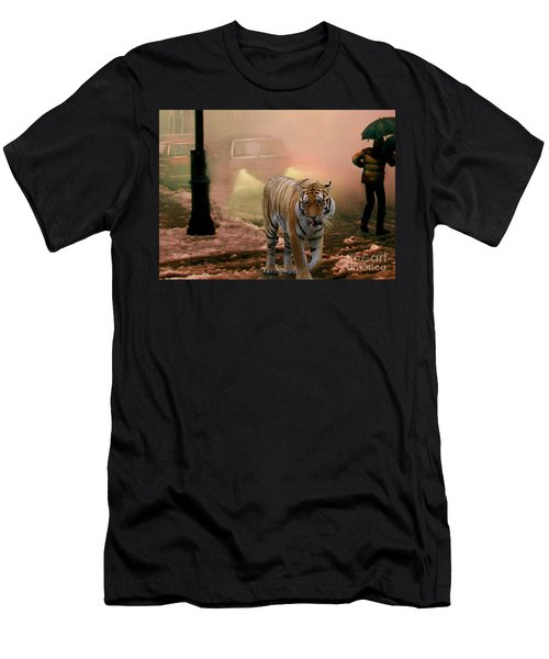 Tiger Walking Down A Snow Slushy Street Men's T-Shirt (Slim Fit) by Wernher Krutein