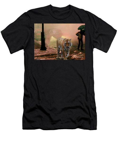 Tiger Walking Down A Snow Slushy Street Men's T-Shirt (Athletic Fit)