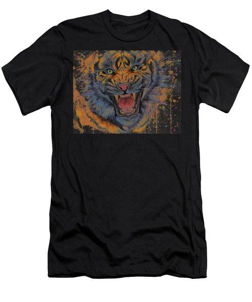 Tiger Watercolor Portrait Men's T-Shirt (Athletic Fit)