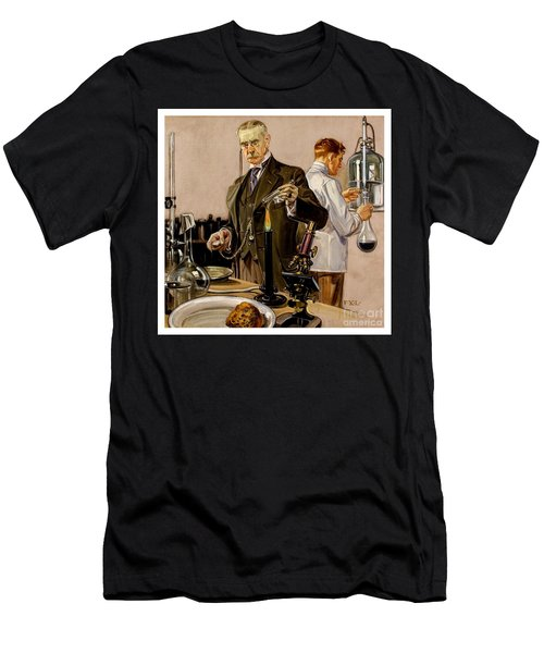Men's T-Shirt (Athletic Fit) featuring the painting Timing An Experiment Frank Leyendecker 1910 by Peter Gumaer Ogden