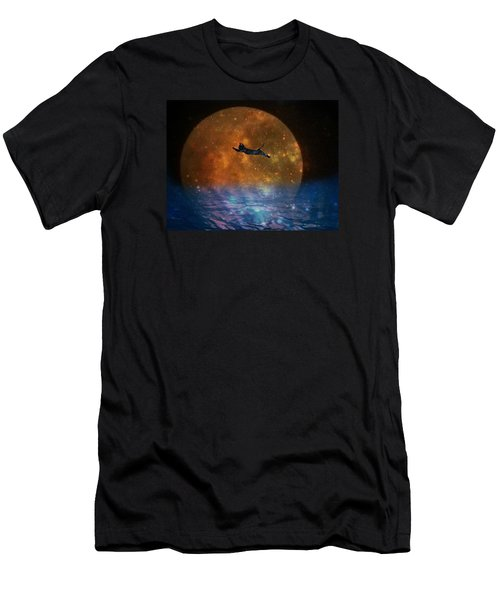 To The Moon And Back Cat Men's T-Shirt (Slim Fit) by Kathy Barney