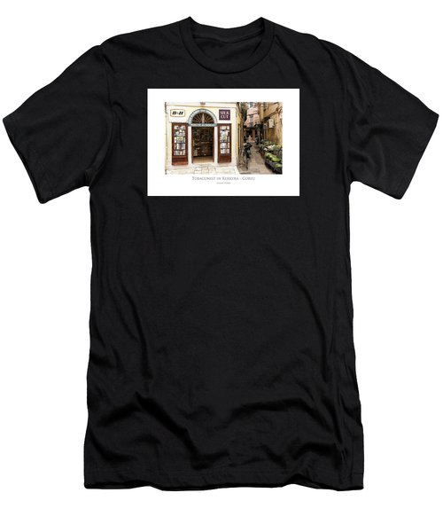 Men's T-Shirt (Athletic Fit) featuring the digital art Tobaconist In Kerkyra - Corfu by Julian Perry
