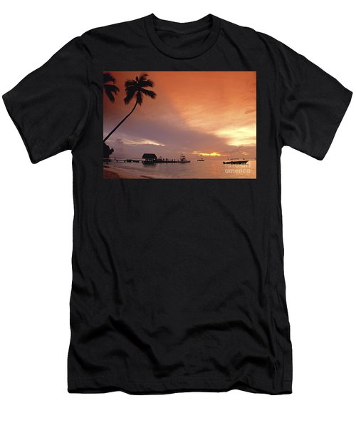Men's T-Shirt (Athletic Fit) featuring the photograph Tobago, Pigeon Point Sunset, Caribbean Sea, by Juergen Held