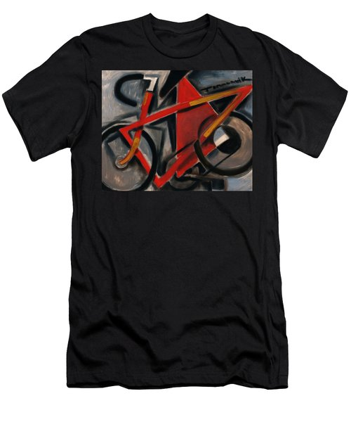 Tommervik Abstract Cubism Red Ten Speed Bike Art Print Men's T-Shirt (Athletic Fit)
