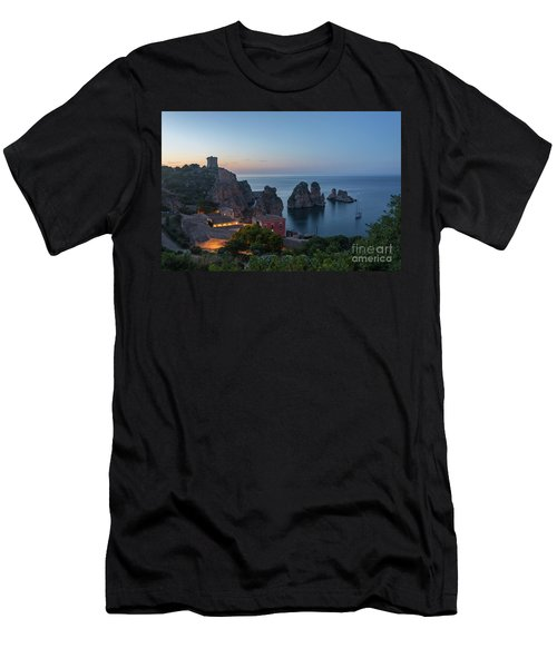 Men's T-Shirt (Athletic Fit) featuring the photograph Tonnara And Faraglioni Rocks In Scopello At Dusk by IPics Photography