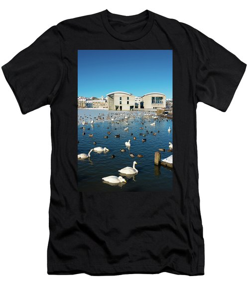 Town Hall And Swans In Reykjavik Iceland Men's T-Shirt (Slim Fit) by Matthias Hauser