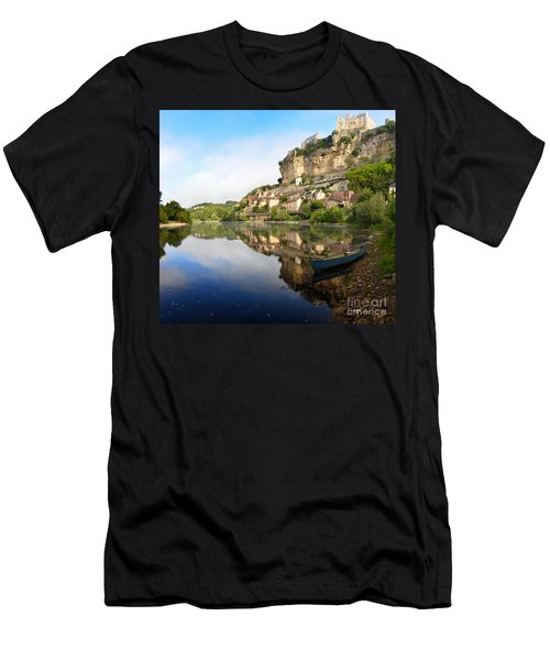 Men's T-Shirt (Athletic Fit) featuring the photograph Town Of Beynac-et-cazenac Alongside Dordogne River by IPics Photography