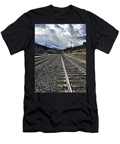 Men's T-Shirt (Slim Fit) featuring the photograph Tracks by JoAnn Lense