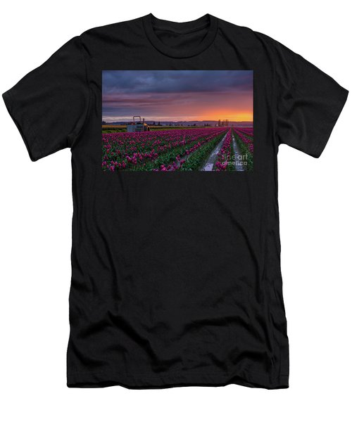 Men's T-Shirt (Slim Fit) featuring the photograph Tractor Waits For Morning by Mike Reid