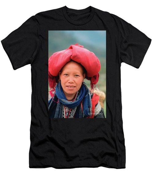Men's T-Shirt (Athletic Fit) featuring the photograph Traditional Fashion Of A Red Dzao Woman by Silva Wischeropp