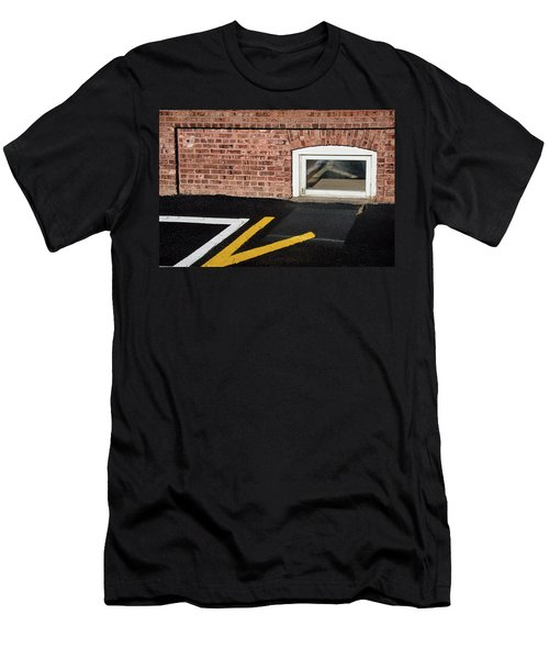 Men's T-Shirt (Athletic Fit) featuring the photograph Traffic Line Conversion In Window by Gary Slawsky