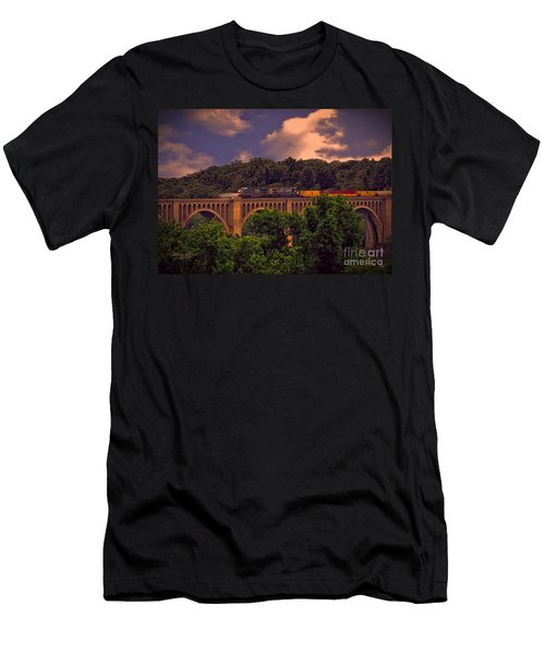 Men's T-Shirt (Slim Fit) featuring the photograph Train Trestle Over The James by Melissa Messick