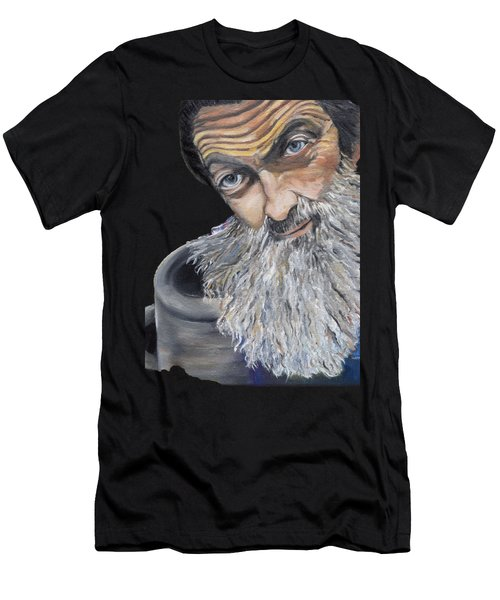 Popcorn Sutton Shines With Transparent Background -for T-shirts And Other Fabric Items- Moonshine Men's T-Shirt (Slim Fit) by Jan Dappen