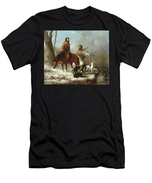 Men's T-Shirt (Slim Fit) featuring the painting Trappers             by Trego and Williams