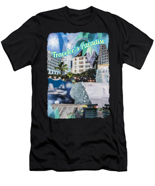 Traveler's Paradise - Torn Paper Graphic Art Collage Men's T-Shirt (Athletic Fit)
