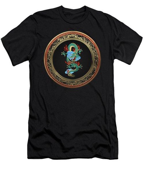 Treasure Trove - Turquoise Dragon Over Black Velvet Men's T-Shirt (Slim Fit) by Serge Averbukh