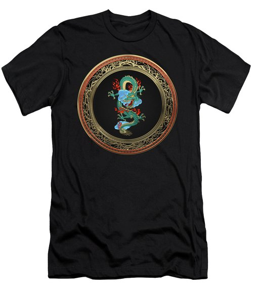 Treasure Trove - Turquoise Dragon Over Black Velvet Men's T-Shirt (Athletic Fit)