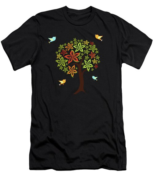 Tree And Birds Men's T-Shirt (Athletic Fit)